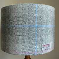Harris Tweed Lampshade 30cm - Grey, Blue and Pink