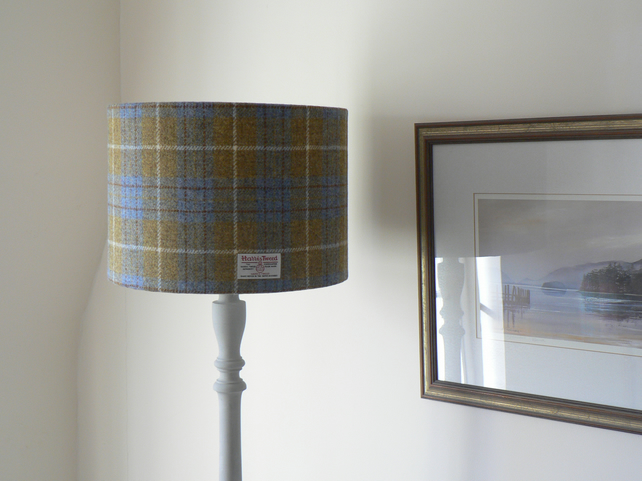Handmade Harris Tweed Lampshade 35cm - Yellow and Blue Tartan