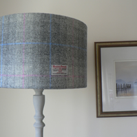 Harris Tweed Lampshade 40cm - Grey, Blue and Pink