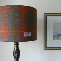 Handmade Harris Tweed 35cm Drum Lampshade - Orange, Brown and Green Tartan