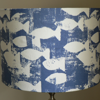 Handmade Fjord Fish 30cm Drum Lampshade - Cobalt Blue and Soft White