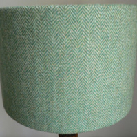 Harris Tweed Green Herringbone Drum Lampshade