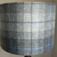 Harris Tweed Drum Lampshade 30cms in Grey and Blue Tartan