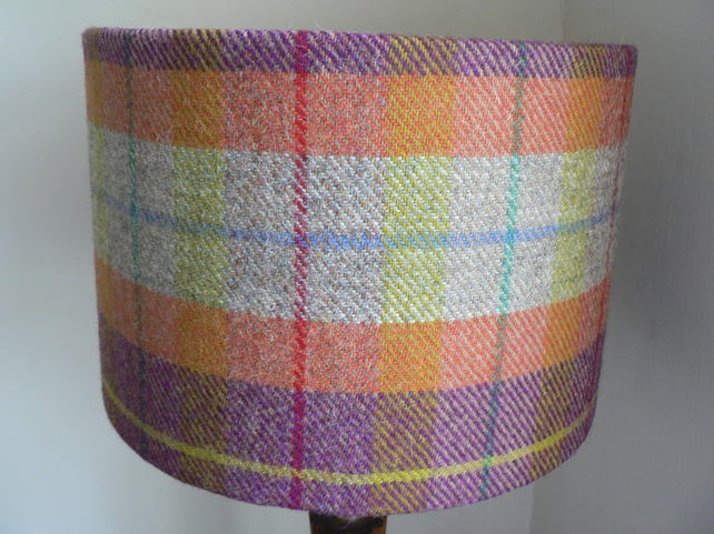 Harris Tweed Drum Lampshade in Orange, Purple and Beige Tartan 30cm