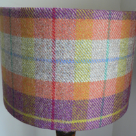 Harris Tweed Drum Lampshade in Orange, Purple and Beige Tartan