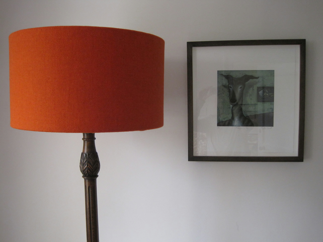Handmade Harris Tweed Drum Lampshade in Burnt Orange Tweed