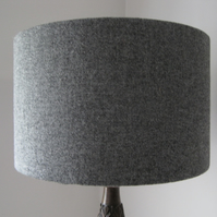Handmade Harris Tweed Drum Lampshade in Grey Tweed