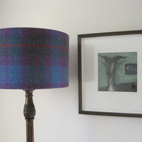 Handmade Harris Tweed Drum Lampshade in Purple and Grey Tartan