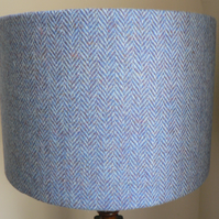 Handmade Harris Tweed Drum Lampshade in Blue Herringbone Fabric