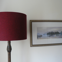 Handmade Harris Tweed Drum Lampshade in Plain Red