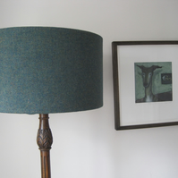 Handmade Drum Lampshade in Plain Green Harris Tweed Fabric