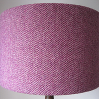 Handmade Harris Tweed Drum Lampshade in Pink Herringbone Tweed