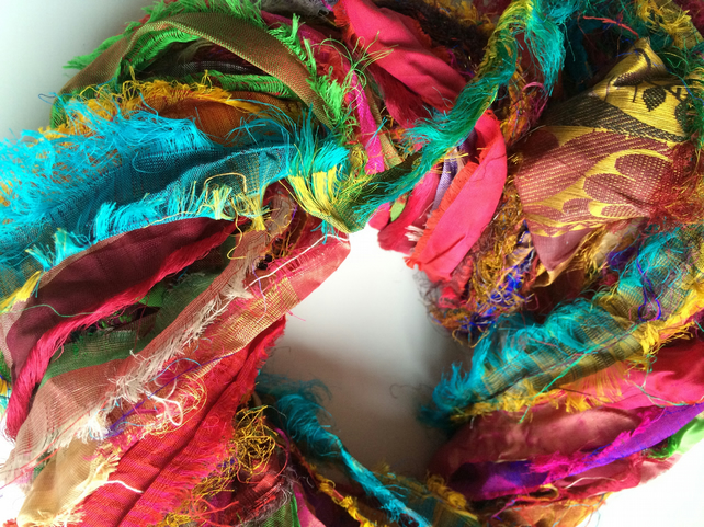 Sari silk ribbon, ribbon yarn, craft ribbon, handmade. 50g.