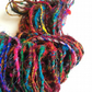 Sari silk yarn. Chunky yarn. 5 yards. silk waste yarn. Multicoloured silk yarn