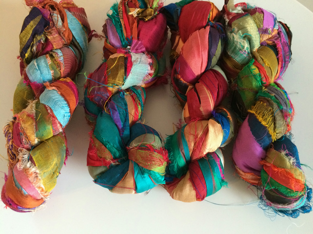 Recycled sari silk ribbon, 10 yards  mixed colours, knit, crochet, weave,  crafts
