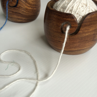 Hand carved yarn bowl. Hold your yarn while you knit! Free yarn with every order