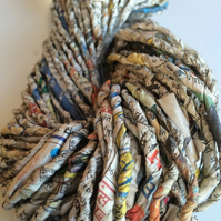 Recycled newspaper yarn, Indian newspaper, handmade by our women's co-ops.