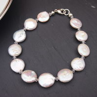 Freshwater coin pearl and Swarovski crystal bracelet