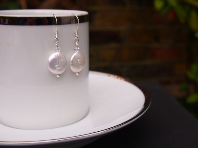 Freshwater coin pearl and Swarovski crystal drop earrings