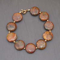 """Mystic"" jasper and gold bracelet"