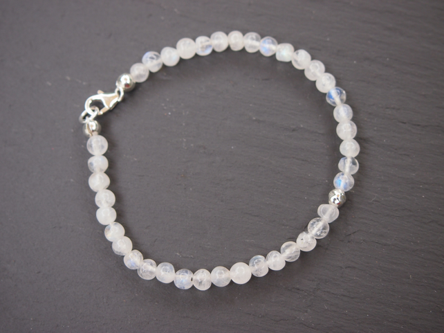 "Delicate ""blue"" moonstone and sterling silver bracelet"
