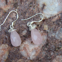 Rose quartz and sterling silver pendant earrings