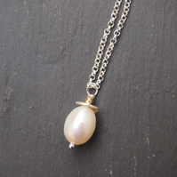 """Acorn"" freshwater pearl and sterling silver pendant"