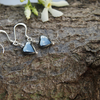 Delicate haematite and sterling silver earrings