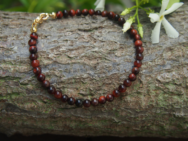 Delicate red tiger's eye bracelet