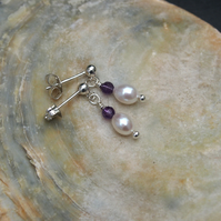Natural freshwater pearl and amethyst earrings