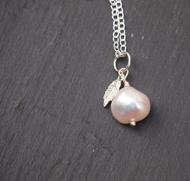 "Freshwater pearl and sterling silver ""pear"" pendant"