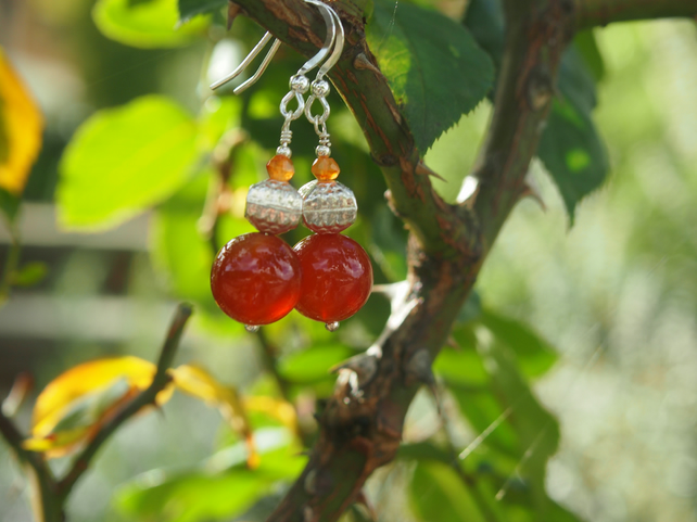 Carnelian and sterling silver pendant earrings
