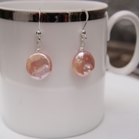 "Palest pink freshwater pearl ""coin"" earrings"