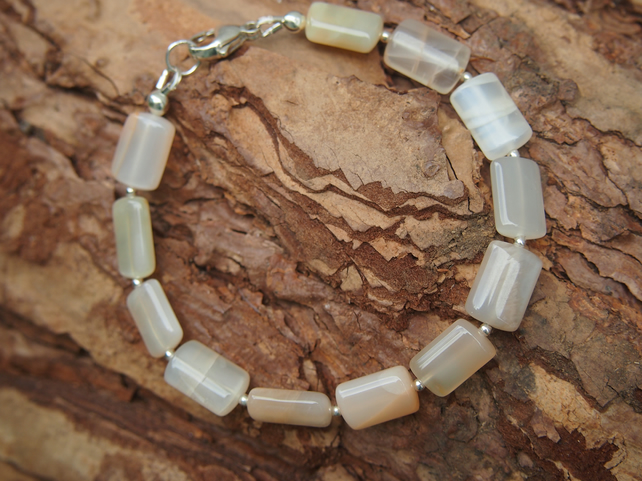 """Pale and interesting"" moonstone bracelet"