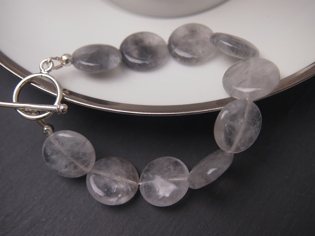 Tourmalinated quartz and sterling silver coin bracelet