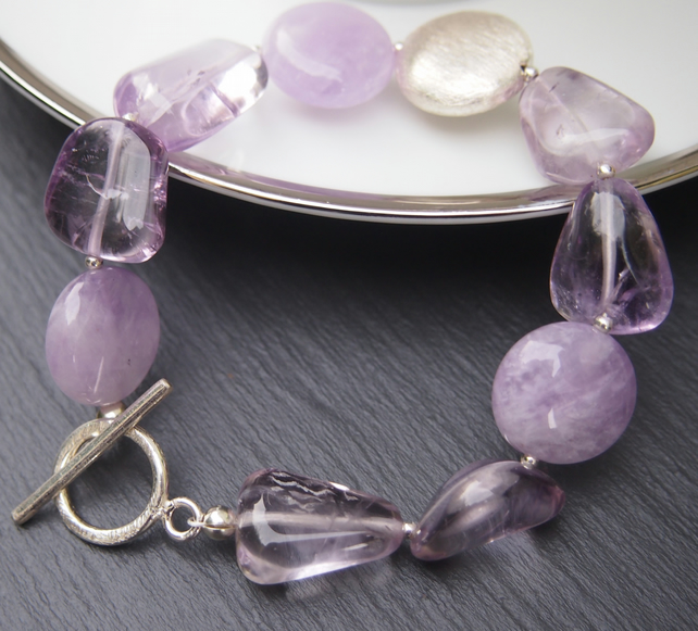 Lavender amethyst and sterling silver pebble bracelet