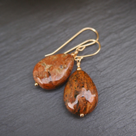 """Mystic""jasper and gold pendant earrings"