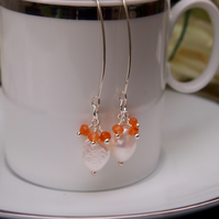 Carnelian, pearl and sterling silver pendant earrings