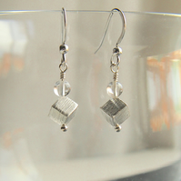 "Sterling silver and rock crystal  ""cube"" earrings"