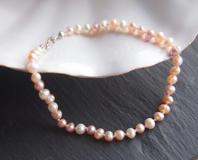 Delicate natural pearl and sterling silver bracelet