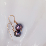 """Peacock"" freshwater pearl earrings"