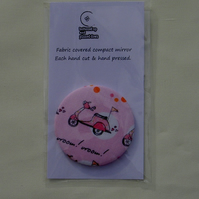 Scooter fabric compact pocket mirror