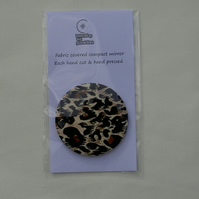 Leopard print fabric compact pocket mirror