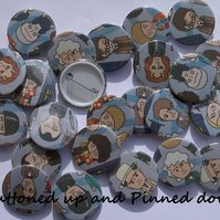 Complete set of fabric Doctor Who badges 38mm