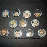 Complete set of Doctor Who fabric badges 25mm