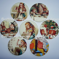 Alice in wonderland printed fabric compact mirror