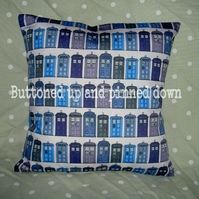 Cushion made with Doctor Who (Dr Who) Tardis fabric (made to order)
