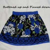 Girls gothic style skulls and roses skirt in blue 1-2 years