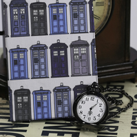 Tardis inspired fabric notebook A6