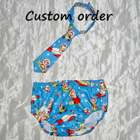 Custom order - Nappy cover and tie set
